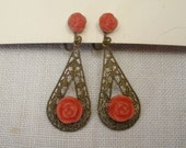 Vintage Celluloid Coral Rose Filigree Screw Back Earrings