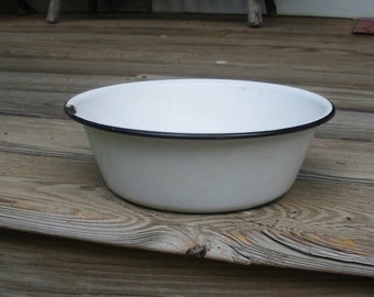 Vintage White & Black Enamelware Bowl - Enamel Dish Pan