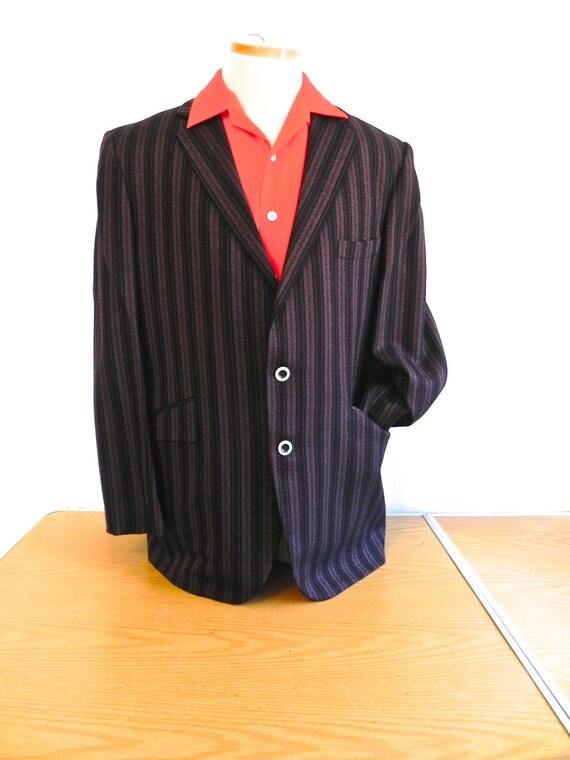 Vintage 1950s Men's Dinner Jacket - 50s Ultra Cool Red and Black Stripe Rockabilly Sport Coat 42 44 - on sale