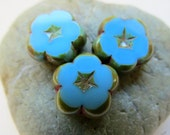 NEW SKY PANSIES . Czech Picasso Table Cut Glass Flower Beads . 14 mm (6 beads)
