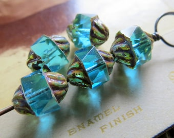NEW Bright AQUA TURBINES . Czech Picasso Glass Beads . 12 by 10 mm (6+ beads)