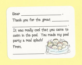 Pool Party Fill in the Blank Thank You Cards - MATCHING INVITATIONS - Summer Pool Party Thanks, Summer Birthday Thanks, Pool Birthday Thanks