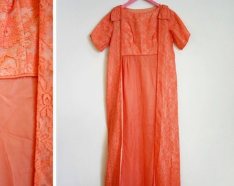 Vintage 1950s-60s Peach Lace Floor Length Formal Dress with Coverup and Bow Shoulders Size S