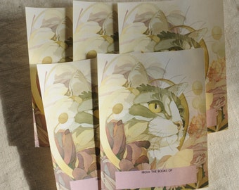 vintage gummed cat bookplates, soft watercolors, set of 5, Antioch