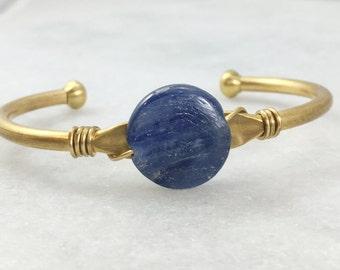Round Kyanite Wrapped Cuff | Brass | B11610