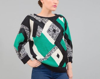 ON SALE Vintage 80s Geometric Sweater Color Block Cotton Knit Jumper 1980s Pullover Sweater Green Black White Small Medium S M