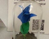 Pendant origami paper blue rose in small glass globe