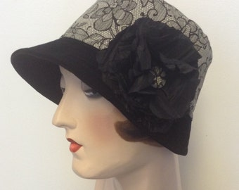 Sale. Lace print and velvet Cloche hat with flower pin. Flapper hat, travel hat, Gatsby hat, Downtown . OOAK.