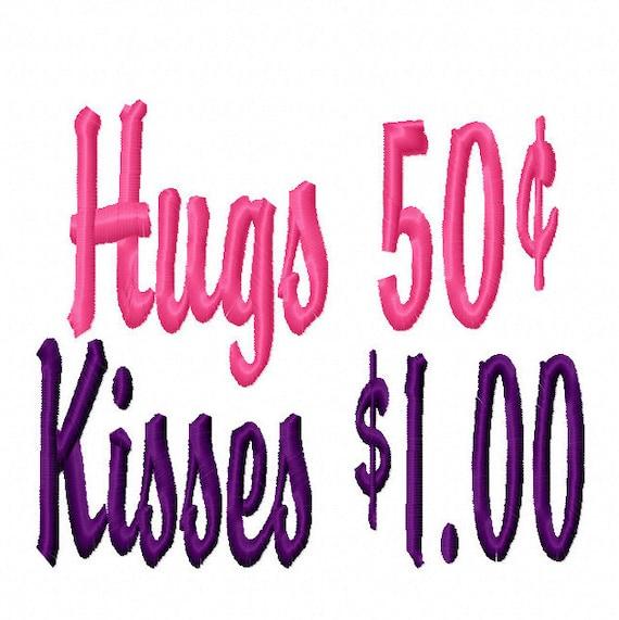 Hugs and Kisses Machine Embroidery Design 4x4 5x7 6x10 Instant Download shirt bib baby shower gift girl boy sale money love kiss hug newborn