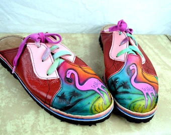 Amazing Rare Vintage Hand Painted Leather Shoes Slip Ons - Flamingo