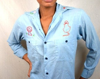 Vintage Embroidered Flower Chambray Button Up Shirt