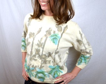 Vintage 1950s French Angora Floral Sweater - Angelon by Darlene