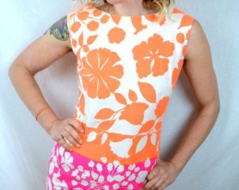 Vintage 1960s Bright NEON Orange and Pink Floral Mini Dress