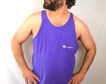 Vintage 80s Purple Champion Tank Top