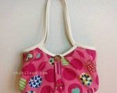granny tote - pink giant dots (M)