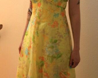 1960s yellow floral chiffon empire waisted dress size small