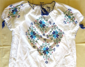 Vintage Embroidered Shirt white gauze blouse Geometric Ukrainian hand cross titch floral design with tassels aqua blue embroidery size M