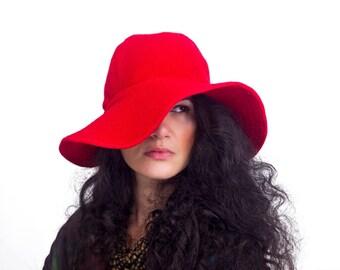 Red Hat , Wide Brim Hat , Femme Fatale Hat , Winter Hat , Wool Hat Women , Handmade Hat , Wool Floppy Hat , Vintage Inspired