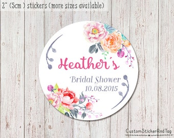 15 bridal shower stickers floral watercolor, personalized sticker, favor sticker, custom gift tag, floral stickers, printable sticker (S-05)