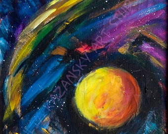Giclee Art Print of Original Acrylic Space Painting Neuonic Wave Abstract space art print Outer space planet art Stars art print on canvas