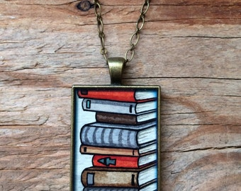 Old Book Necklace - Hand Painted Stack of Books Necklace Large Original Watercolor Hand Painted Necklace Pendant
