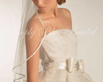 Wedding Veil - Ribbon Veil, Swarovski Crystal Bridal Veil, Veil with Satin Ribbon Edge & Scattered Swarovski Crystals