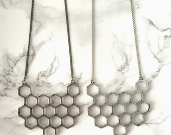 Geometric Honeycomb Necklace >> available in antique brass or antique silver