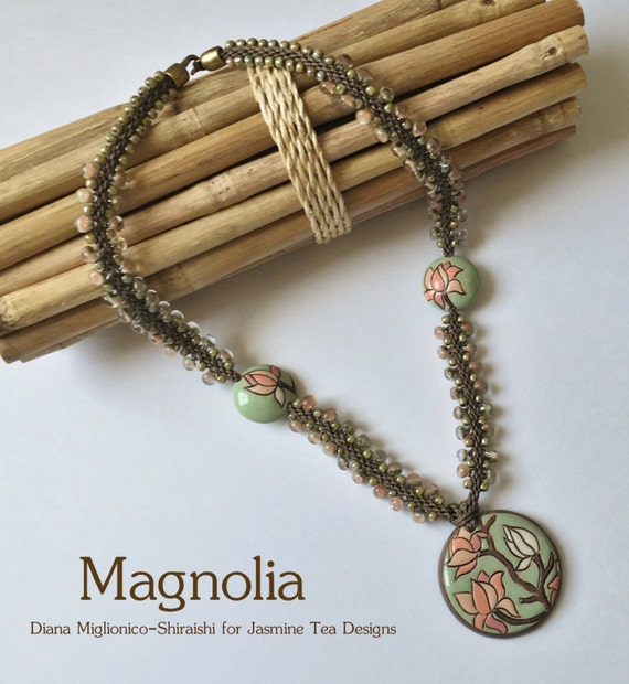 Magnolia Beaded Kumihimo Necklace, Featured in Bead & Button, Designed and Handcrafted by Diana Miglionico Shiraishi