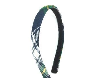 Narrow Plaid Headband - Tartan Plaid Headband Preppy -  Navy, Green, Yellow, White - Blair Waldorf - Adult Headband Woman, Womens Headband