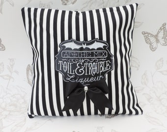Apothecary  label pillow embroidered cushion black and white stripes