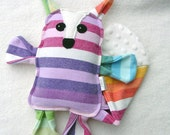 Plush Fox - Handmade - Girasol Fairy Creme Twill Wrap Scrap and Minky - Pillow Plush