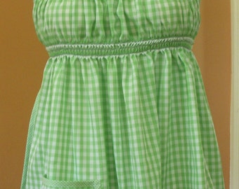 Hand Smocked Apron Hippie Top in 1960s Style, Green Gingham, Fits S-M-L