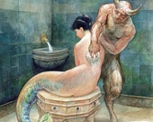 Bathing the Nereid (print) - mermaid art