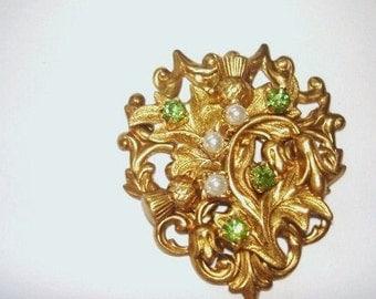 Pearl Rhinestone Thistle Flower  Brooch Gold Tone
