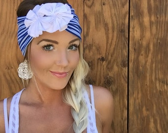 Patriotic Blue White Stripe Flowers Jersey Knit Headband July 4th Fourth Turband Hair Head Band Accessories Patriots Boho 4th Accessory