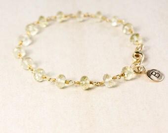 Lemon Quartz Bracelet – Initial Charm