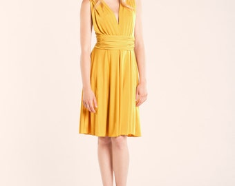 SALE 20% OFF Short yellow dress, mustard yellow infinity dress, yellow dress, mustard bridesmaid dress, yellow prom dress, infinity dress