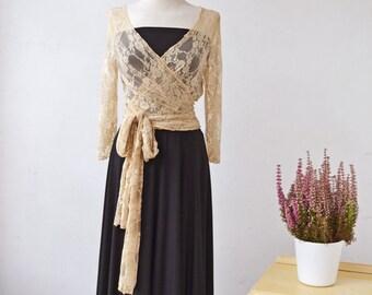 Black maxi dress, black gown, long sleeve lace dress, golden lace dress, elegant long dress evening long dress, bridesmaid dress, long dress