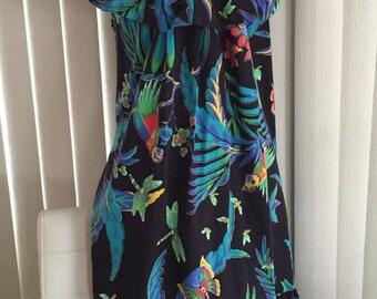 Fabulous Vintage Neiman Marcus David Brown Designer Tropical Hawaiian Dress