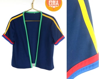 Adorable Vintage 70s Colorblock Navy Blue, Red, Green, & Yellow Trim Cardigan Top!