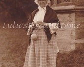 Elderly Woman in Welsh/Wales National Costume - Vintage Real Photo Postcard - England