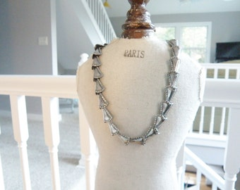 Vintage Napier Modernist Statement Sterling Silver Modern Articulated Bold Statement Chunky Necklace Book Piece