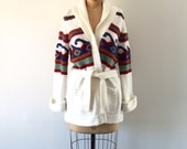 Vintage 1970s Wave Pattern Cardigan Sweater Belted Long Knit Jacket Boho