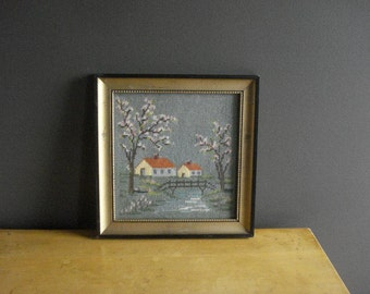 Spring in the Country - Crossstitch Needlework Picture - Vintage Framed Cross Stitch Landscape