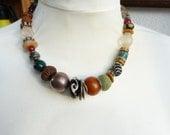 African Trade Beads Necklace, Beadartaustria Designer necklace