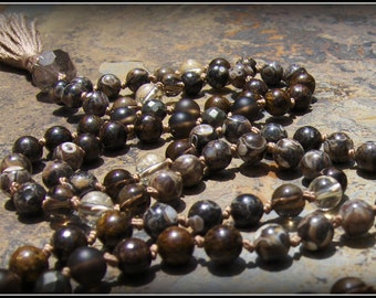 Turritella, Smoky Quartz, Pyrite, Citrine, Bronzite Mala Beads, Prayer Beads