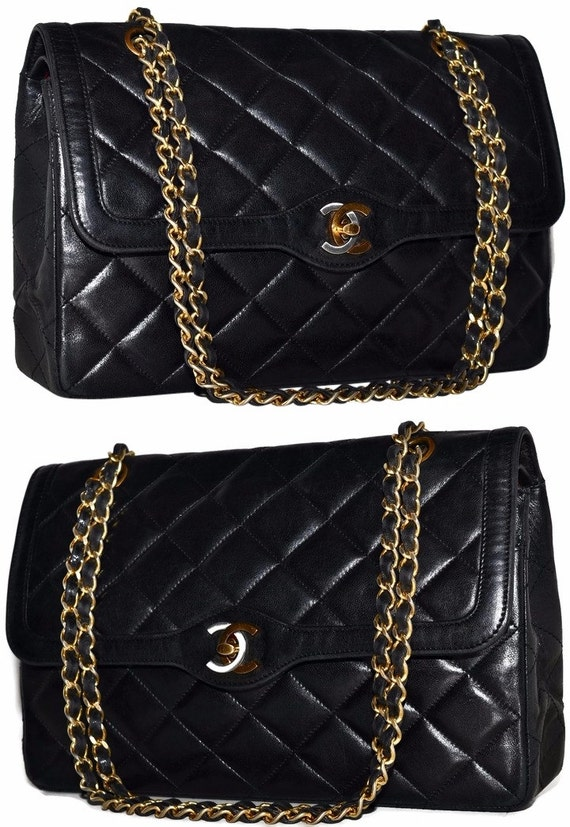 "CHANEL Paris 11"" Inch Jumbo Quilted Lambskin Leather Double Flap Handbag With 2 Way Gold Chain Shoulder Bag"