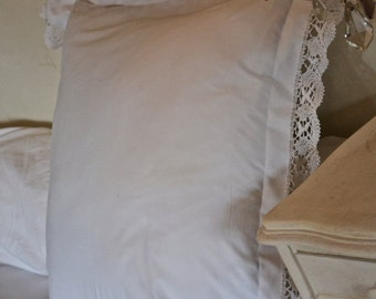 French Vintage Handmade Large Pillow Cover/Sham with Hand Embroidered Lace