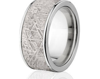10MM Wide Meteorite Bands w/ Comfort Fit Titanium, Meteorite Rings: Meteorite-Ring-10F
