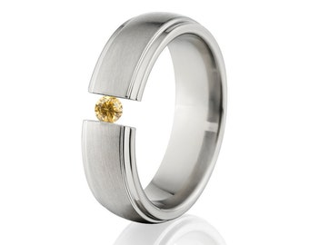 Tension Set Ring, Uniquley You, Titanium Ring, Yellow CZ, 7HRRC-B-Tension